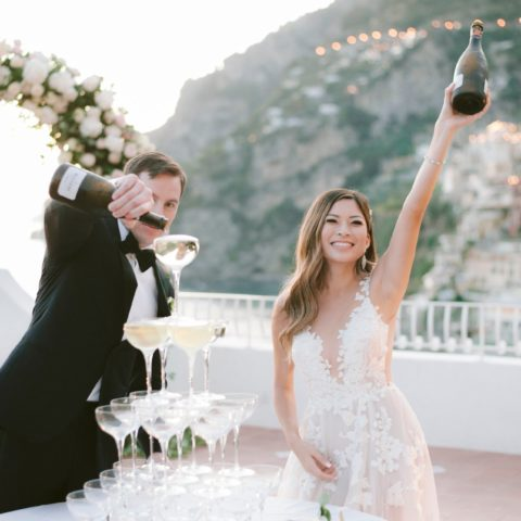destination-wedding-positano-champagne-tower